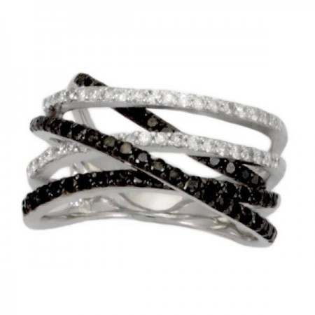 Bague torsadée avec diamants noirs et blancs en argent - Fiora