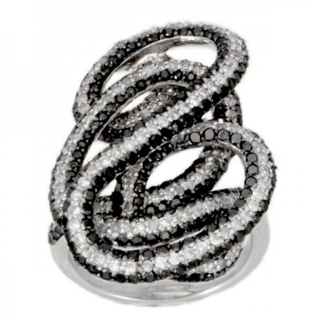 Bague tourbillon diamants noirs en argent - Deodate