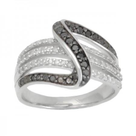 Bague vague diamants noirs et blancs en argent - Euria