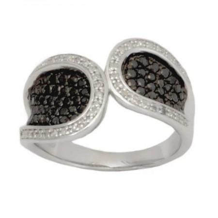 Bague pavé TOI et MOI diamants noirs et blancs en argent - Eudoxie