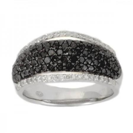 Bague pavé diamants noirs et blancs en argent - Gaatha