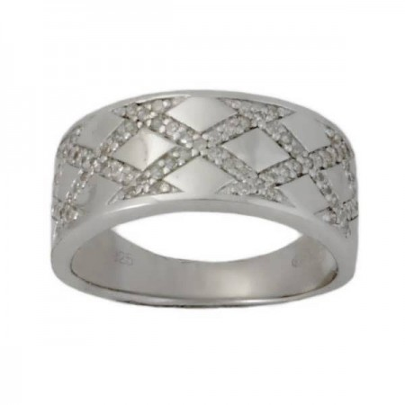 Bague tresse de diamants sertis grains en argent - Ruusu