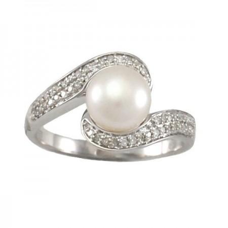 Bague diamants perle en argent - Iraïtz