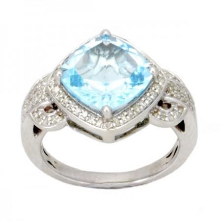 Bague topaze bleue et diamants en argent - Rivanone