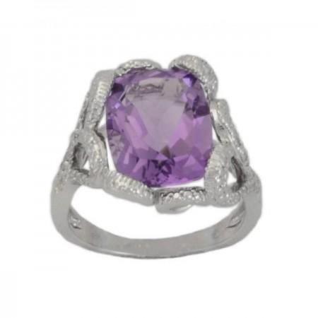 Bague améthyste et diamants en argent - Ouna