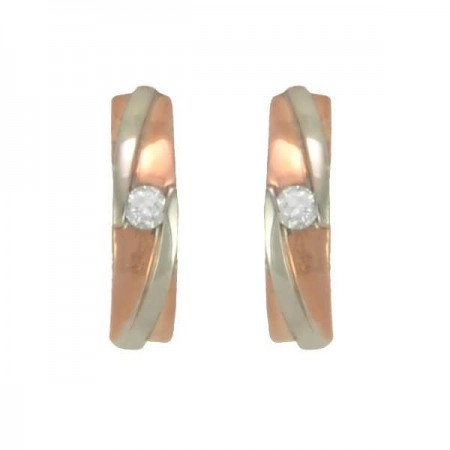 Boucles d'oreilles or et diamants  en or rose 9 carats - Truthfull