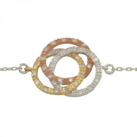 Bracelet trois anneaux trois or diamants  - Forever