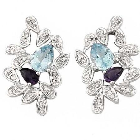 Boucles d'oreilles feuilles avec diamants et saphirs et topazes bleues en argent - Cross