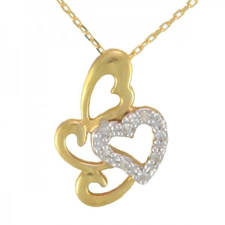 Collier coeur avec diamants en or jaune 9 carats - Moana