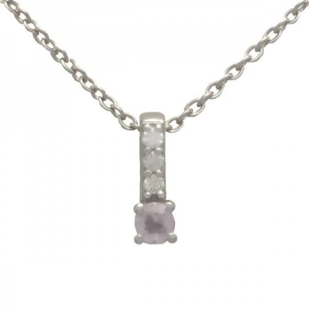 Collier baton quartz rose et diamants en or blanc 9 carats - Erna