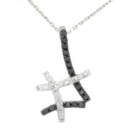 Collier Insolence diamants noirs et blancs en or blanc 9 carats - Gaya