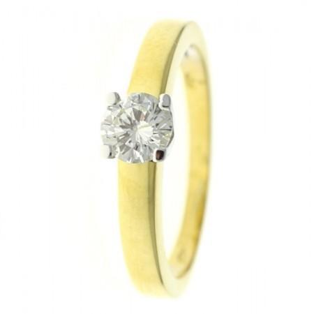 Bague solitaire diamant bicolore moderne 4 griffes en or jaune 18 carats - Luba