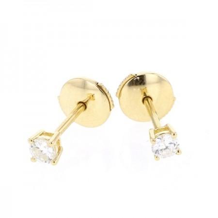 Boucles d'oreilles clous, diamants montés quatre griffes en or jaune 18 carats - Ennia