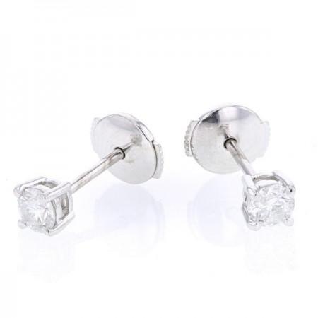Boucles d'oreilles clous, diamants montés quatre griffes en or blanc 18 carats - Ennia