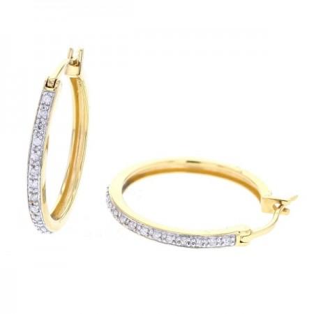 Boucles d'oreilles créoles pavées de diamants en or jaune 18 carats - Eolia