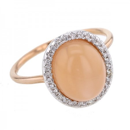 Bague pierre de lune orange et diamants en or rose 9 carats - Manola