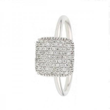 Bague coussin carré pavé diamants en or blanc 9 carats - Manola