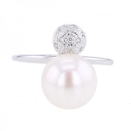 Bague rond pavé diamants et perle blanche  en or blanc 9 carats - Manola