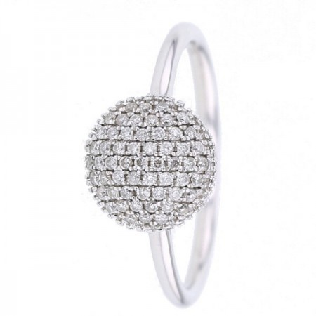 Bague coussin pavé diamants en or blanc 9 carats - Manola