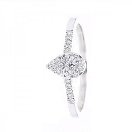 Bague coeur sertis intelligents  en or blanc 18 carats - Vismed