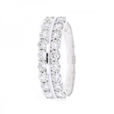 Bague double alliances diamants griffes  en or blanc 18 carats - Ilana