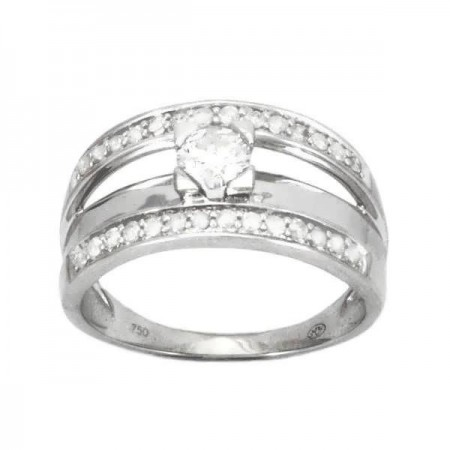 Bague solitaire diamant accompagné de diamants en or blanc 18 carats - Reva
