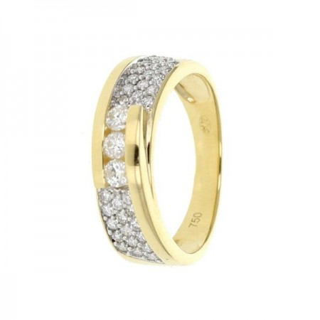 Bague trilogy pavé, avec trois diamants sertis entre deux rails  en or jaune 18 carats - Alicia