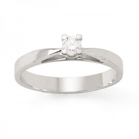 """Bague solitaire diamant """"ALTO"""" 4 griffes  en or blanc 18 carats - Adonia"""