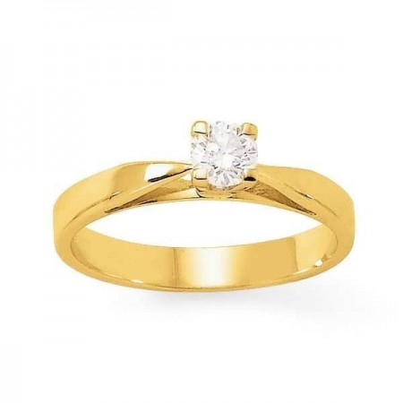"""Bague solitaire diamant """"ALTO"""" 4 griffes  en or jaune 9 carats - Adonia"""