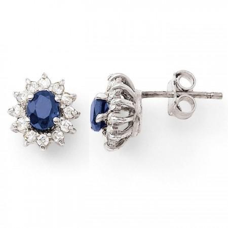 Boucles d'oreilles saphirs avec entourage de diamants  en or blanc 18 carats - Errel