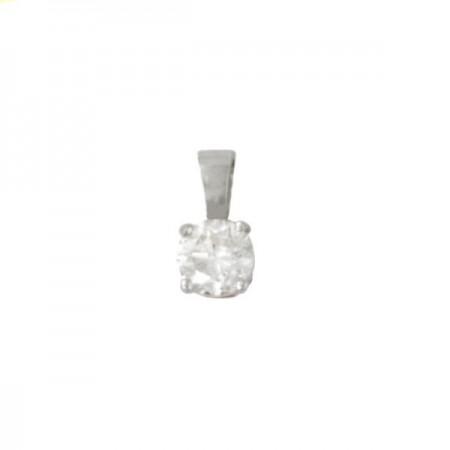 Pendentif puce diamant 4 griffes  en or blanc 18 carats - Kaleria