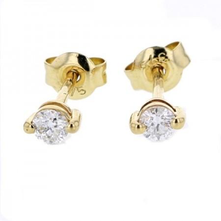 Boucles d'oreilles puces 2 griffes  en or jaune 9 carats - Pompéa