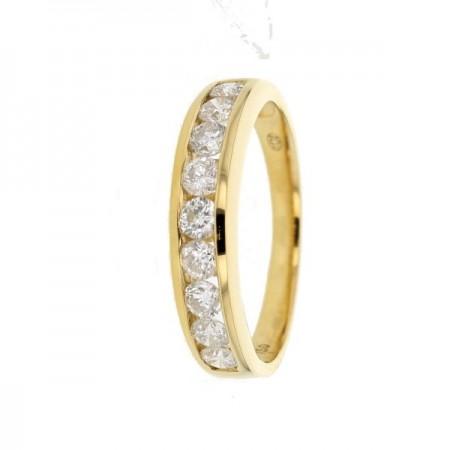 Demi-alliance diamants sertis en rail en or jaune 18 carats - Ederra