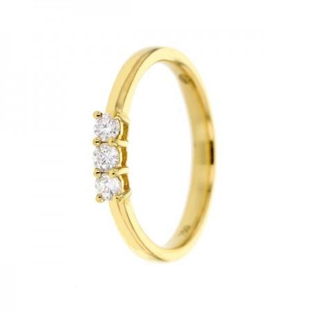 Alliance trilogie de diamants sertis 4 griffes  en or jaune 18 carats - Talwin
