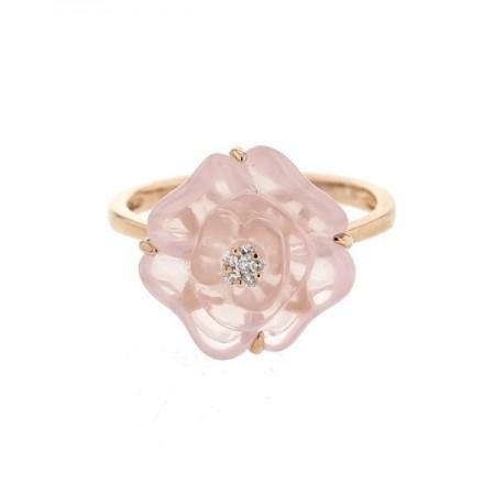 Bague camelia en calcédoine et pistille diamants  en or rose 9 carats - Délicate Ros