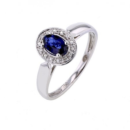 Bague saphir entourage de diamants   en or blanc 18 carats - Molly