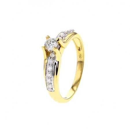 Solitaire diamant serti 4 griffes en or jaune 18 carats - Rejane