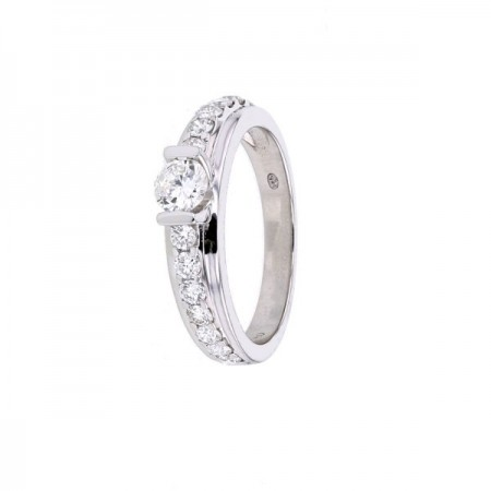 Bague solitaire diamant accompagné en or blanc 18 carats - Athena