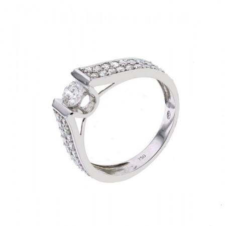 Bague solitaire diamant accompagné  en or blanc 18 carats - Carry