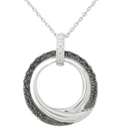 Collier avec des diamants noirs et blancs en or blanc 9 carats - Jorane
