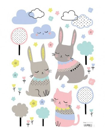 Stickers lapins et nuages Lilipinso