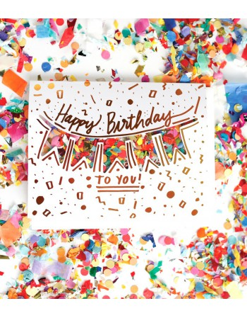Carte Happy Birthday Confettis