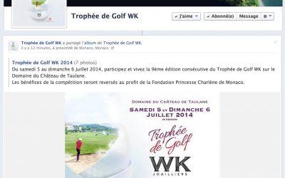 Ouverture de la page Facebook du Trophée de Golf WK